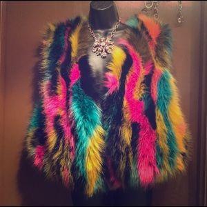 Jackets & Blazers - Sassy colorful faux fur vest!